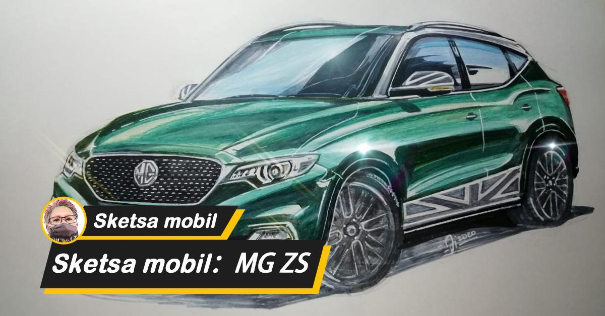 Sketsa mobil: Sketsa MG ZS dengan British Racing Green, kembalikan suasana sporty dari mobil sport Inggris kuno 01