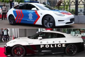 Tesla Model 3 Polisi Indonesia vs Nissan GT-R R35 Polisi Jepang, Siapa Paling Hebat Buat Kejar Penjahat Jalanan?
