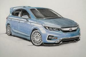 Sketsa mobil: Wah, Modifikasi Honda City Hatchback di Atas Kertas Untuk Sumber Inspirasi