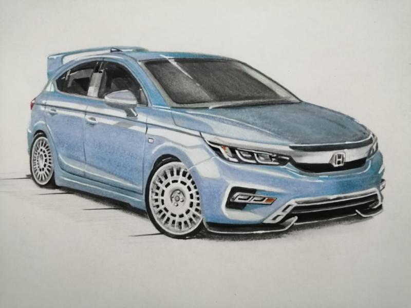 Sketsa Mobil Wah Modifikasi Honda City Hatchback Di Atas Kertas Untuk Sumber Inspirasi Autofun