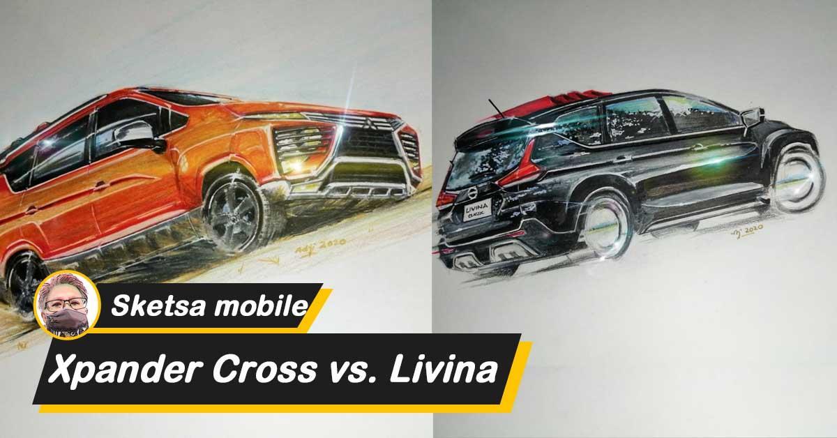 Perlengkapan atas Sketsa mobil: Battle on paper, Mitsubishi Xpander Cross dan Nissan Livina yang merupakan raja terkuat 01